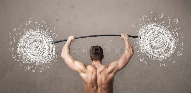 Muscular man lifting chaos concept stock image