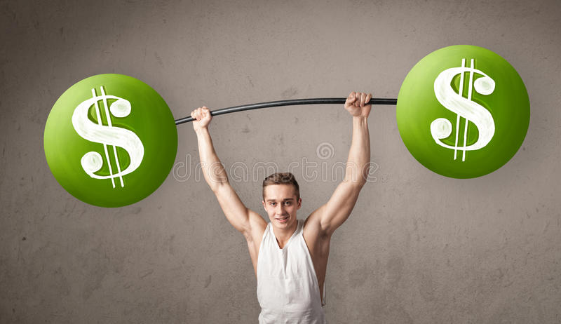 Muscular man lifting green dollar sign weights royalty free stock image
