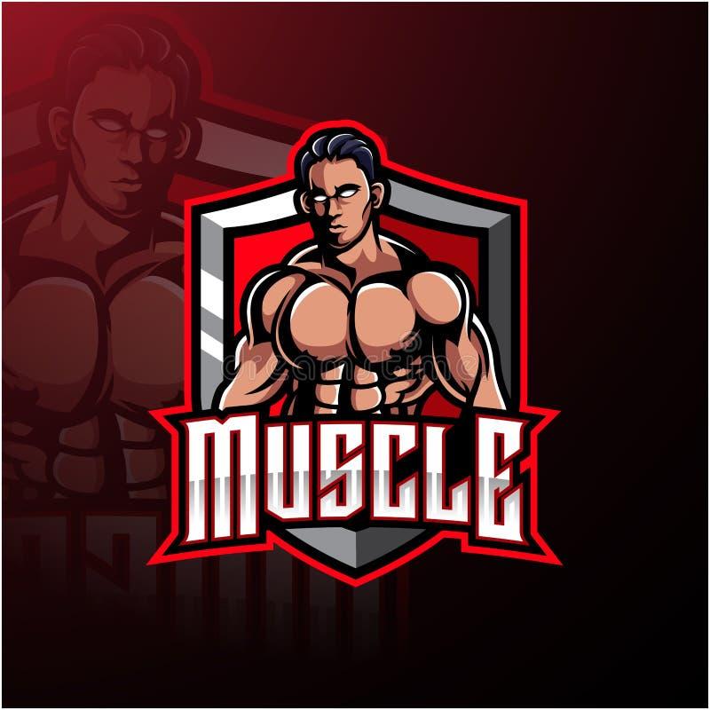 Muscular man mascot logo design. Illustration of Muscular man mascot logo design stock illustration