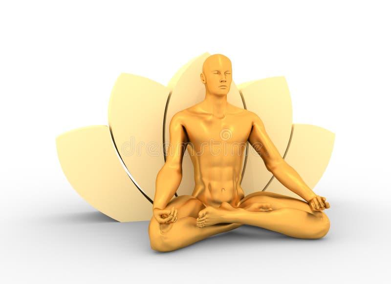 Muscular man meditation. royalty free stock image