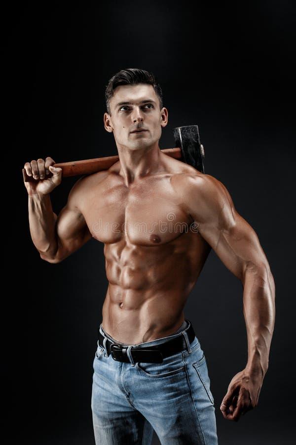 Naked Guy Holding A Blank Panel Stock Photo - Image of