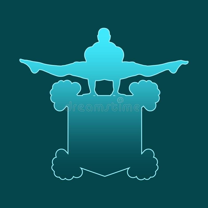 Gym club emblem. Muscular man posing on shield emblem. Bodybuilding coat of arm. Outline design sport badge or emblem royalty free illustration