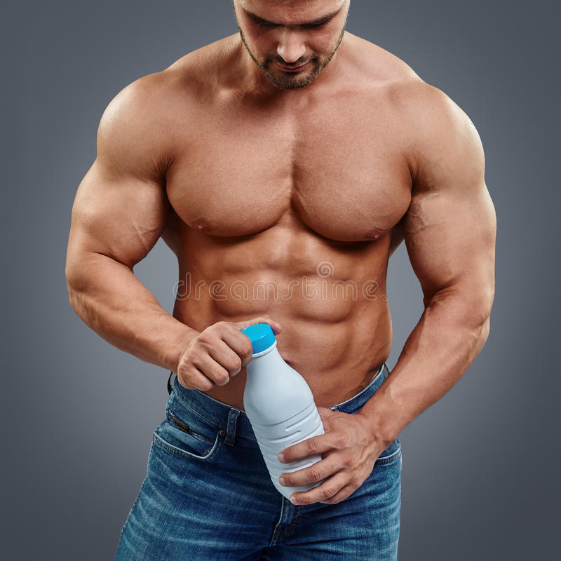 Muscular guy pours milk cums gay they took 2