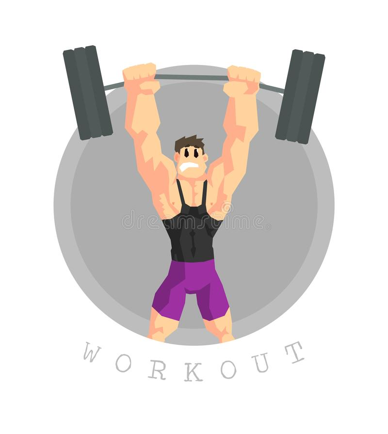 Muscular Man Rising Barbell, Physical Workout Training, Active Healthy Lifestyle Vector Illustration. On White Background vector illustration