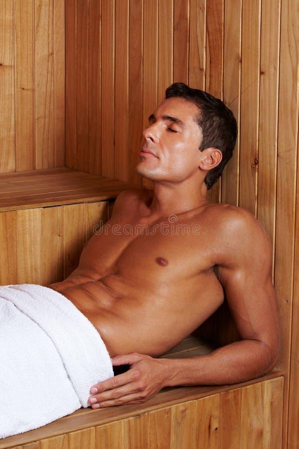 Muscular man in sauna