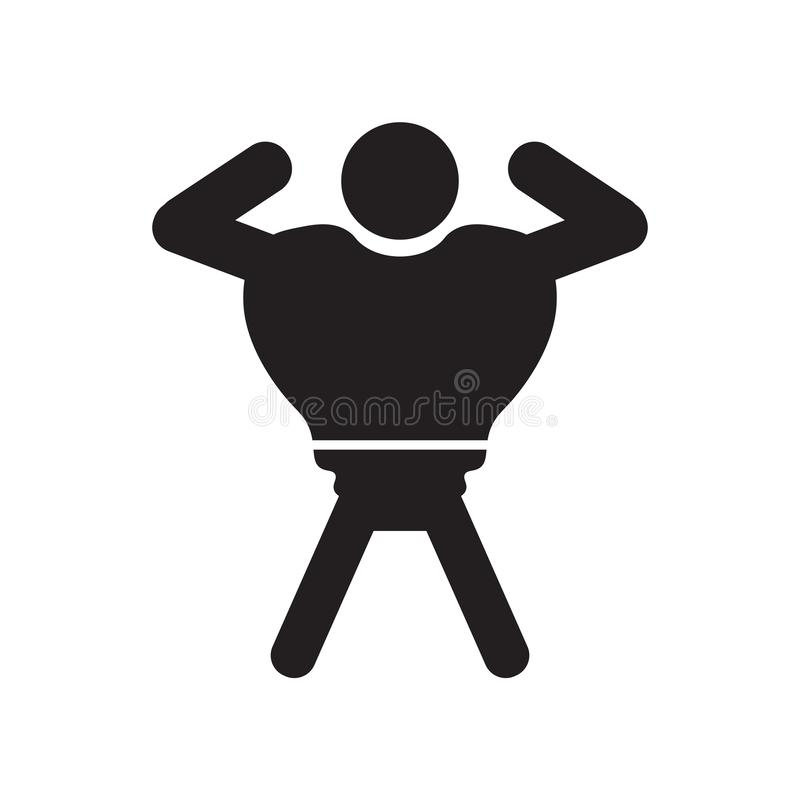 Muscular man showing his muscles icon vector sign and symbol isolated on white background, Muscular man showing his muscles logo. Muscular man showing his royalty free illustration