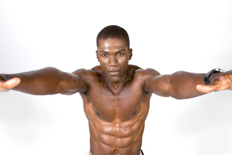 Muscular Man Stretching Arms Stock Photos