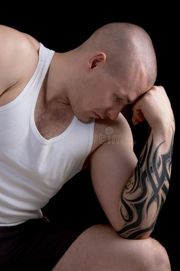 Download Muscular man with tattoo stock image. Image of athlete - 25143979
