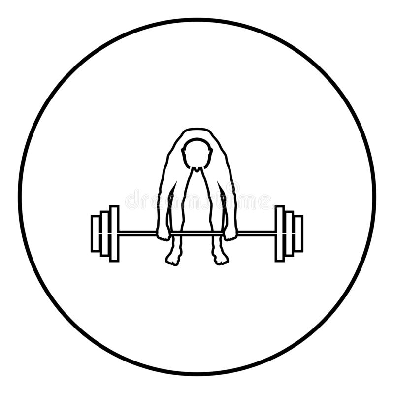 Muscular man weightlifter doing raising the barbell Sportsman raising weights silhouette icon black color illustration in circle. Muscular man weightlifter doing royalty free illustration