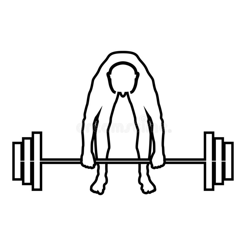 Muscular man weightlifter doing raising the barbell Sportsman raising weights silhouette icon black color illustration outline. Muscular man weightlifter doing vector illustration