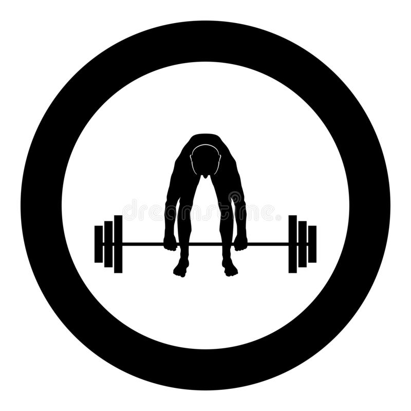 Muscular man weightlifter doing raising the barbell Sportsman raising weights silhouette icon black color illustration in circle. Muscular man weightlifter doing vector illustration