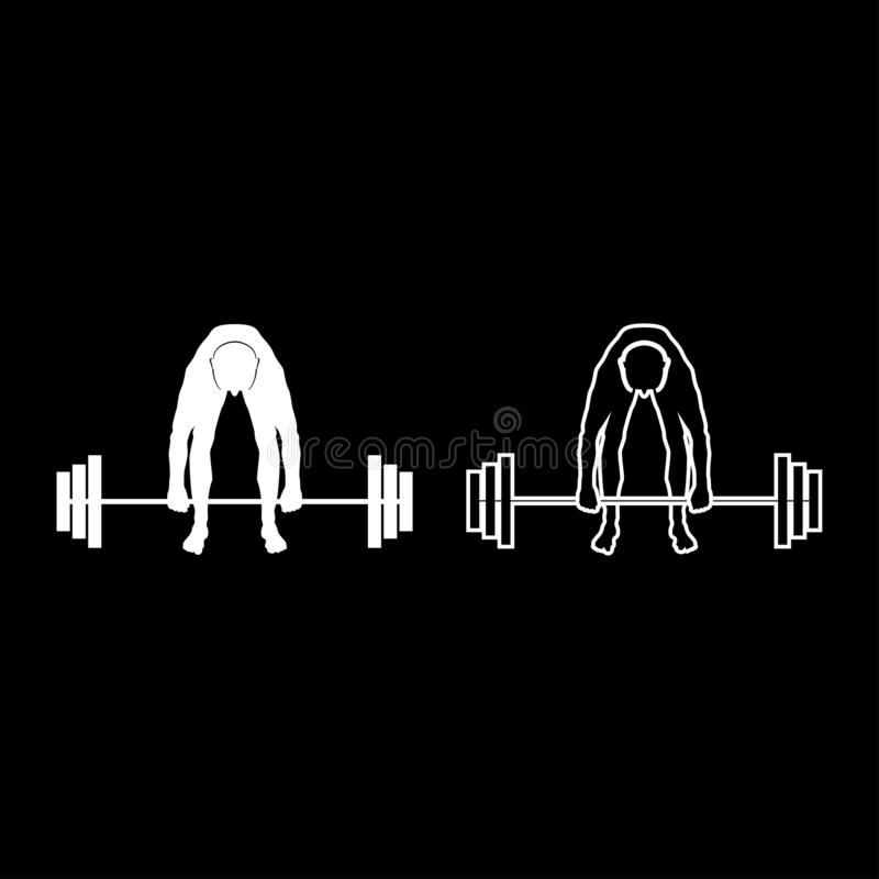 Muscular man weightlifter doing raising the barbell Sportsman raising weights silhouette icon set white color illustration flat. Muscular man weightlifter doing stock illustration