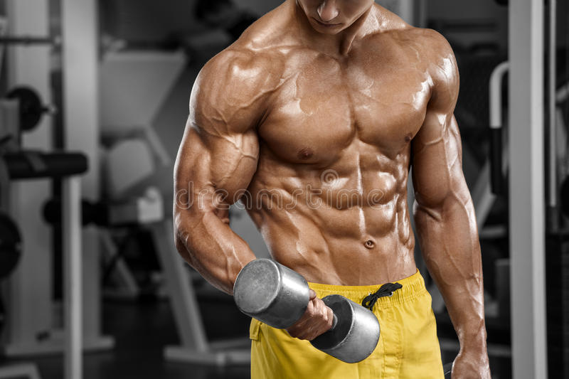 Muscular man working out in gym doing exercises, strong male naked torso abs royalty free stock image