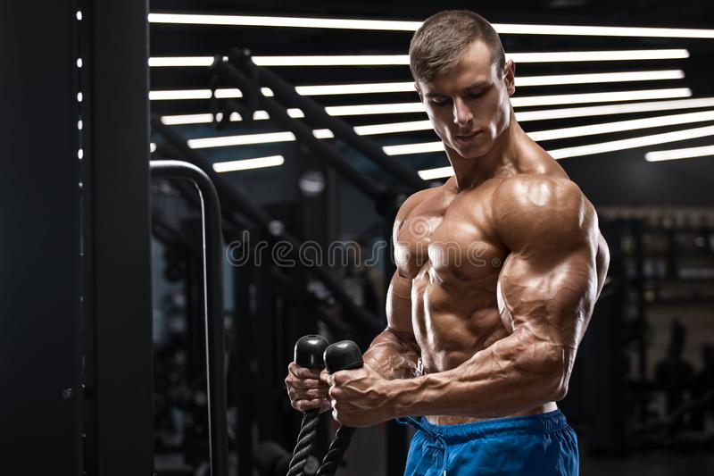 Muscular man working out in gym doing exercises for biceps, strong male naked torso abs royalty free stock image