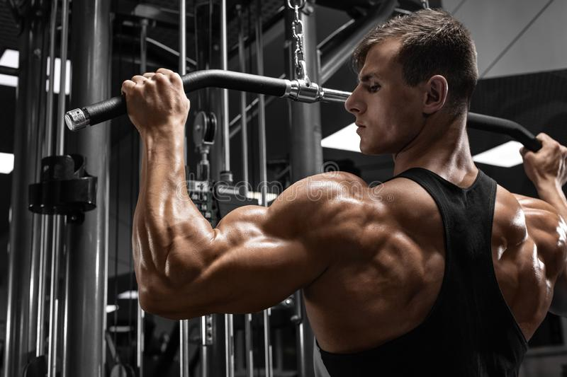 Muscular man workout in gym, doing exercise for back. Strong male rear view.  stock photo