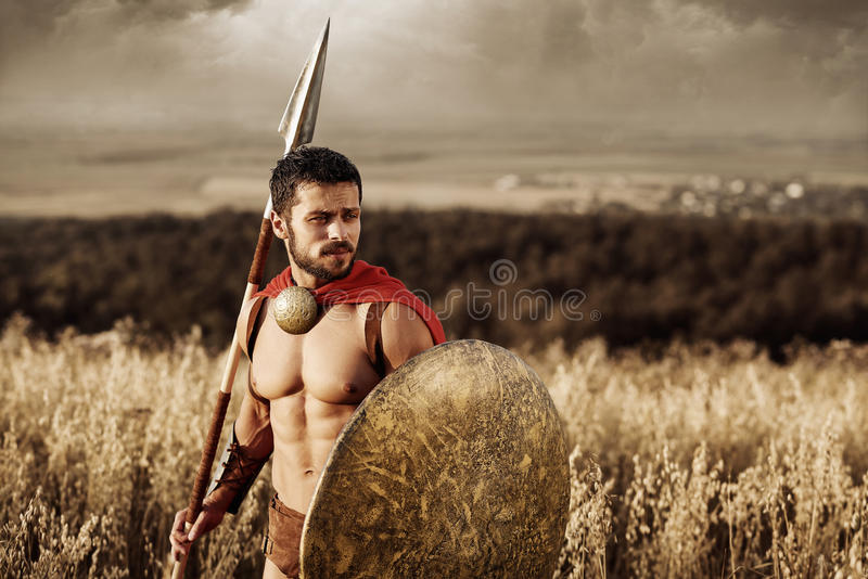 Muscular medieval warrior standing in the field royalty free stock image