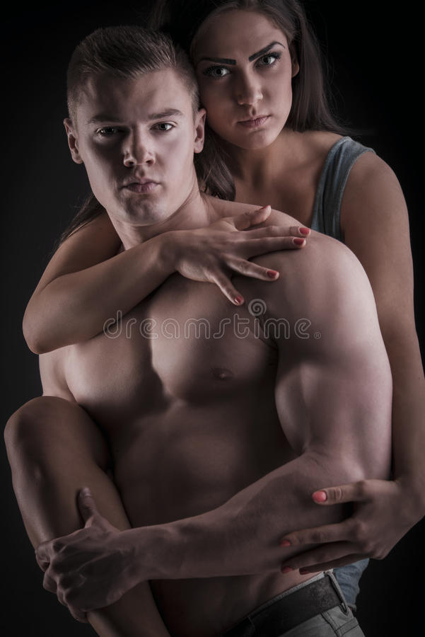 Free Muscular Naked Man And Female Hands Royalty Free Stock Images - 40760269