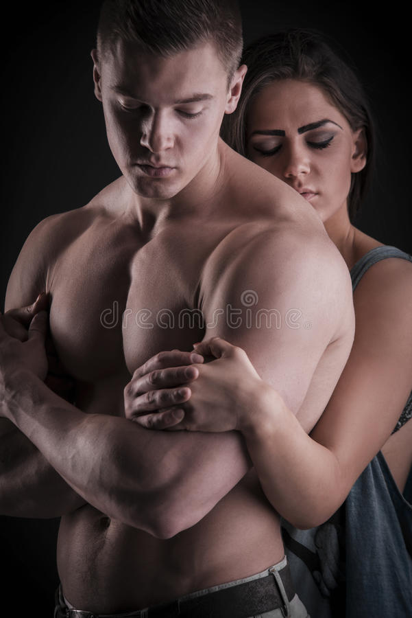 Free Muscular Naked Man And Female Hands Stock Images - 40760274