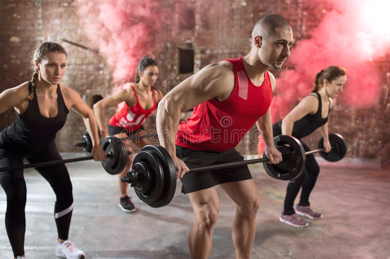 Muscular people bodybuilders workout torso royalty free stock images