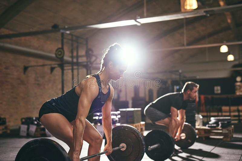 Muscular people doing exercise with heavy barbell royalty free stock image