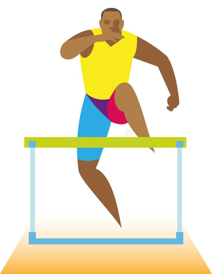 A muscular and powerful African-American sprinter specializes i royalty free illustration
