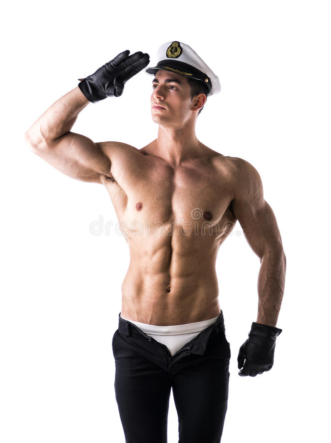 Muscular shirtless male sailor with nautical hat stock images
