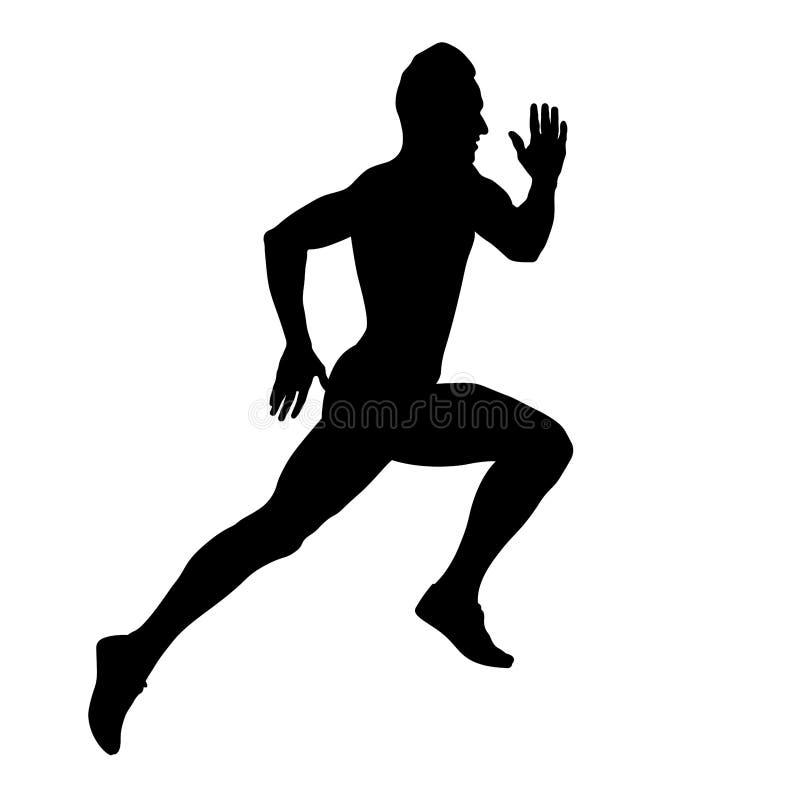 Muscular sprinter runner athlete. Fast running black silhouette royalty free illustration