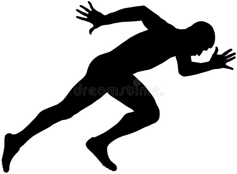 Muscular sprinter runner stock illustration