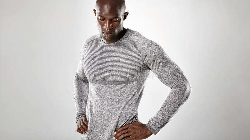 Muscular and strong african male model stock photo