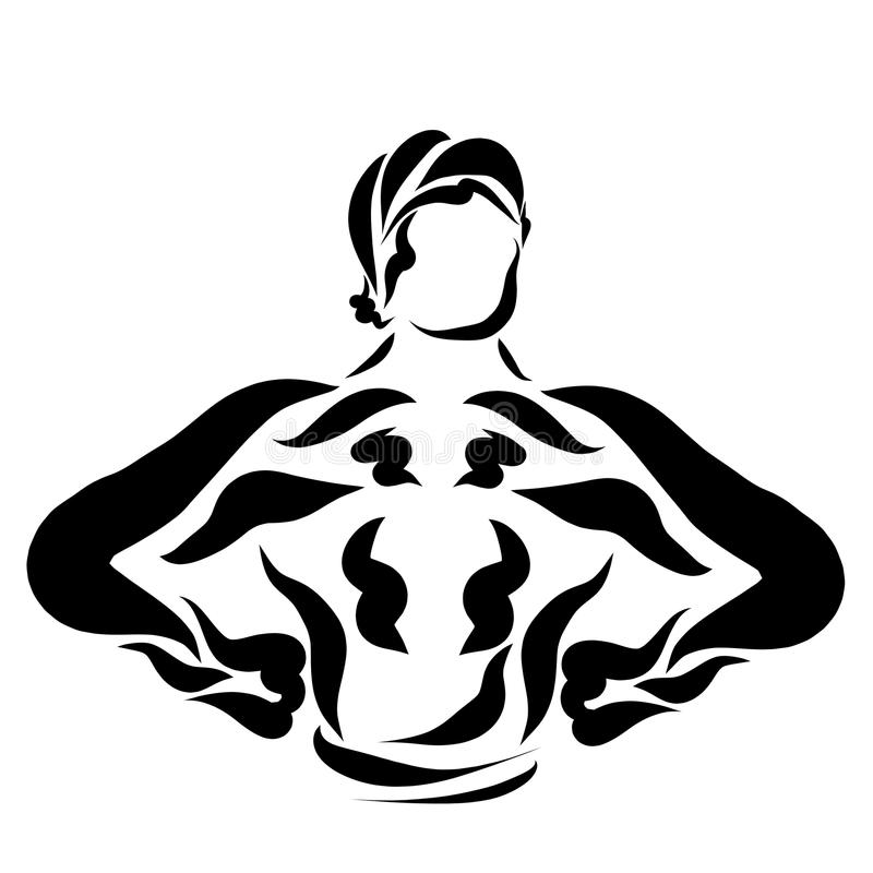 Muscular strong young man, athlete and superhero vector illustration