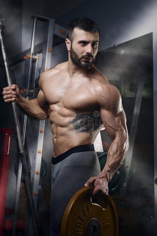 Muscular topless man posing with barbell and weight plate in the gym royalty free stock photography