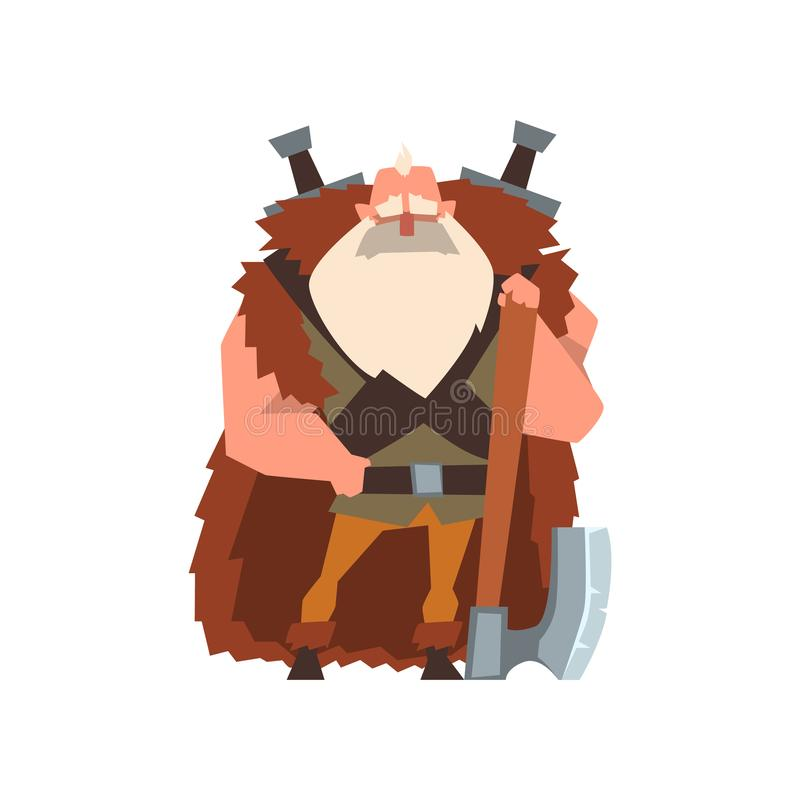 Muscular viking warrior character in animal skin cape with huge axe vector Illustration on a white background. Muscular viking warrior character in animal skin vector illustration