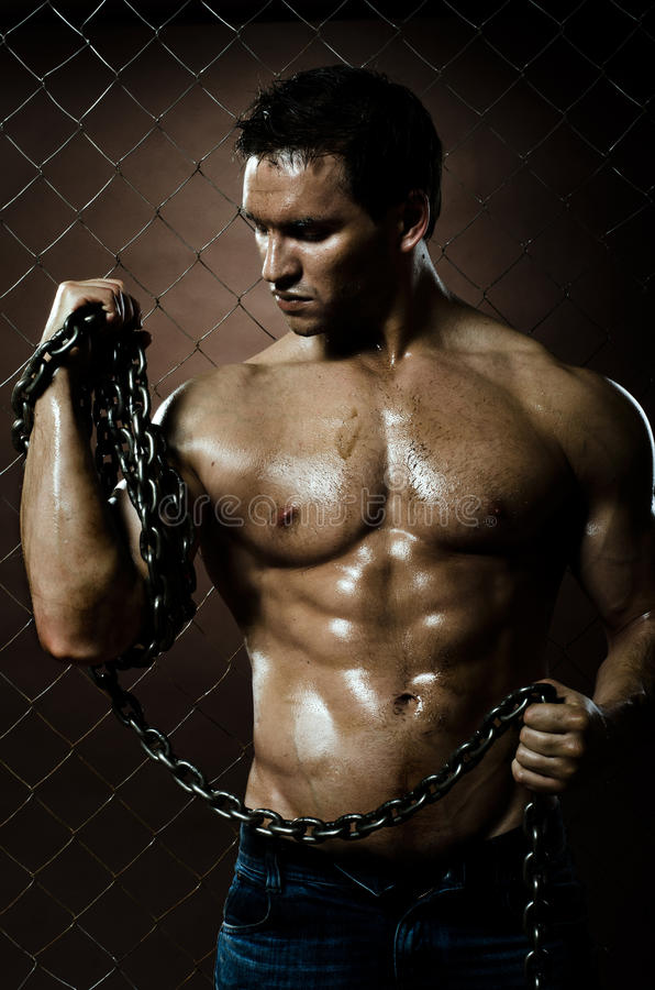 Muscular worker stock image