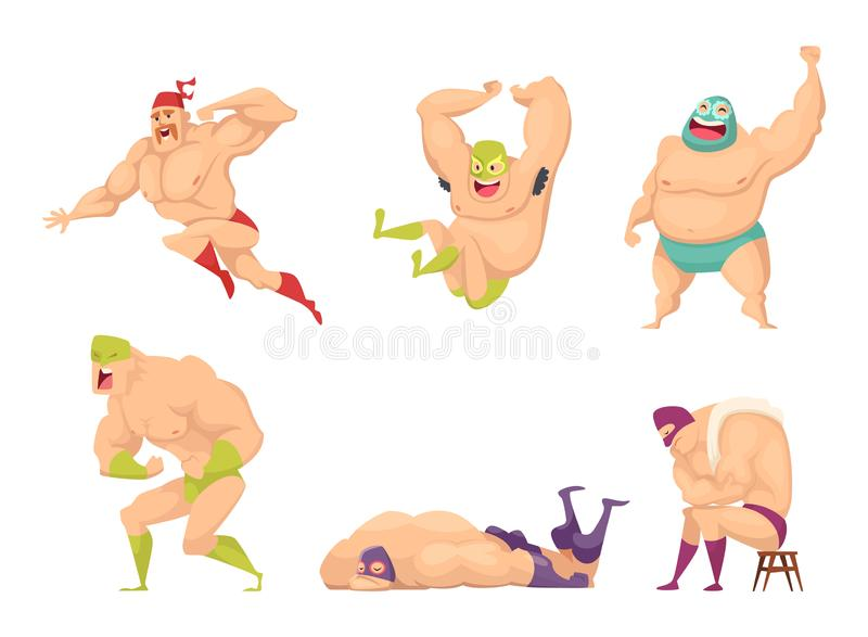 Muscular wrestler. Mma fighter in special costume mexican libre fancy luchador vector people characters isolated. Illustration of fighter man wrestling, strong vector illustration
