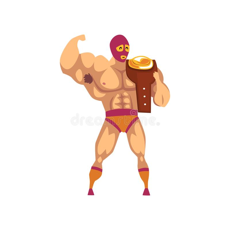 Muscular wrestler standing and holding winner s belt on his shoulder. Cartoon fighter in red-orange mask and shorts. Muscular wrestler standing and holding royalty free illustration