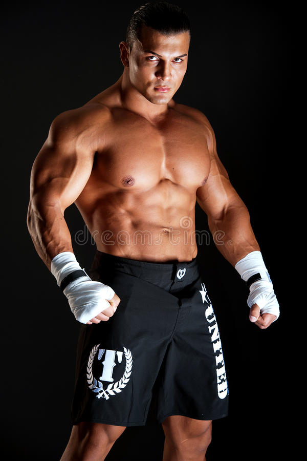 Muscular young boxer royalty free stock images