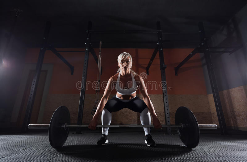 Muscular young fitness woman lifting a weight in the gym stock photo
