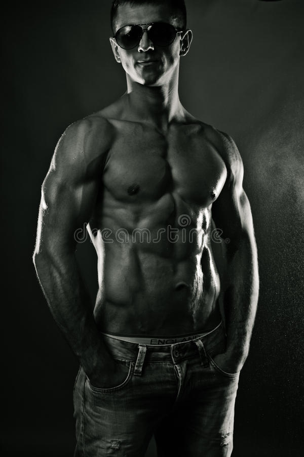 Download Muscular young man. Bw stock photo. Image of attractive - 25291412