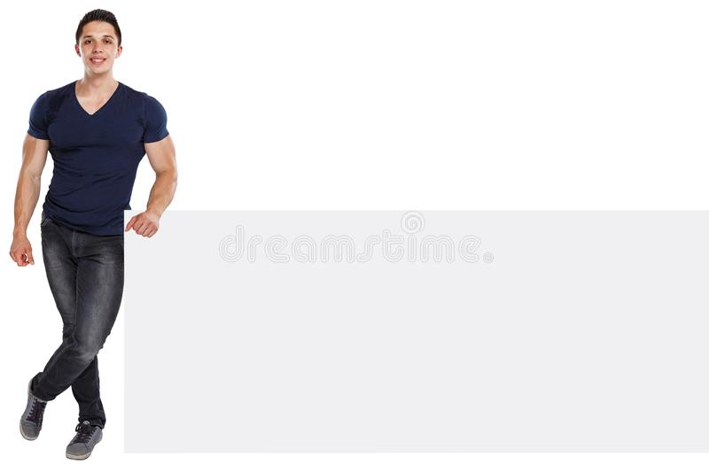 Muscular young man copyspace marketing ad advert bodybuilder empty blank sign isolated on white. Muscular young man copyspace marketing ad advert bodybuilder stock photography
