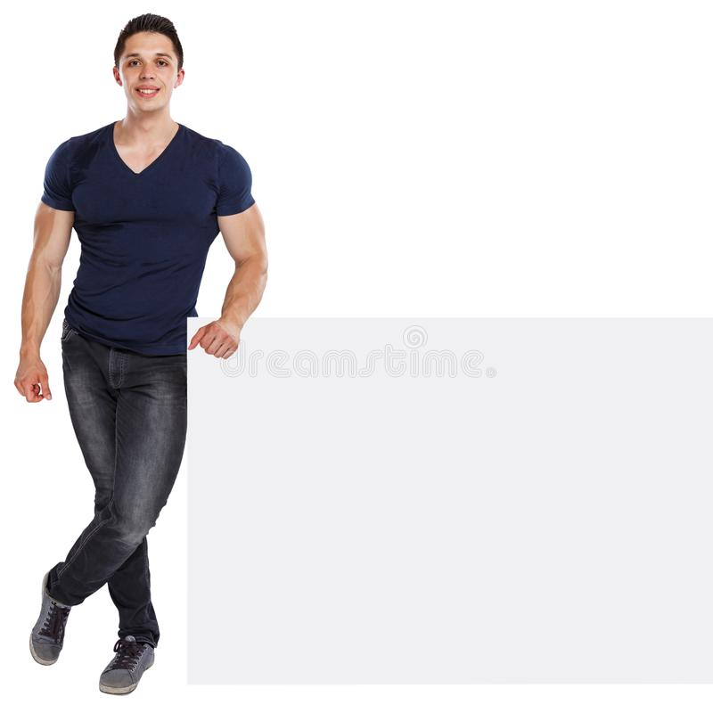 Muscular young man copyspace marketing ad advert empty blank sign isolated on white. Muscular young man copyspace marketing ad advert empty blank sign isolated stock photo