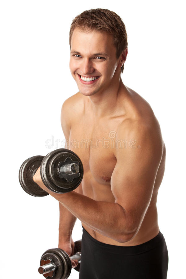 Download Muscular Young Man Lifting A Dumbbell Stock Image - Image: 25382391