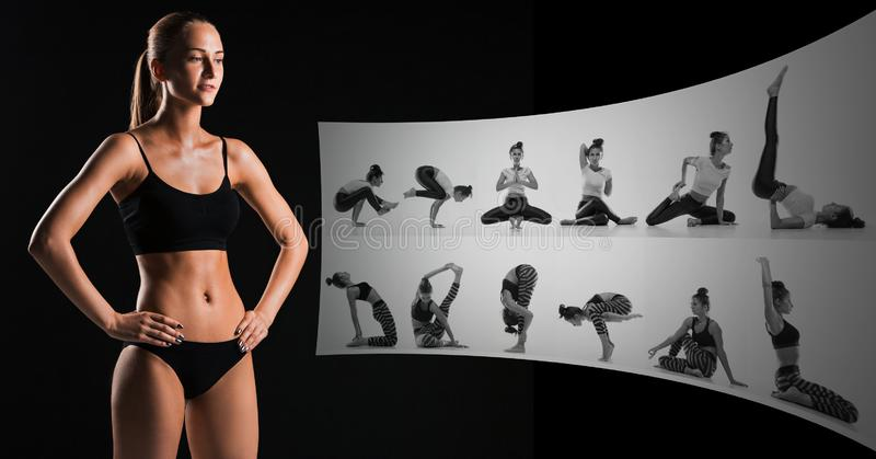 Muscular young woman athlete on black, creative collage royalty free stock images