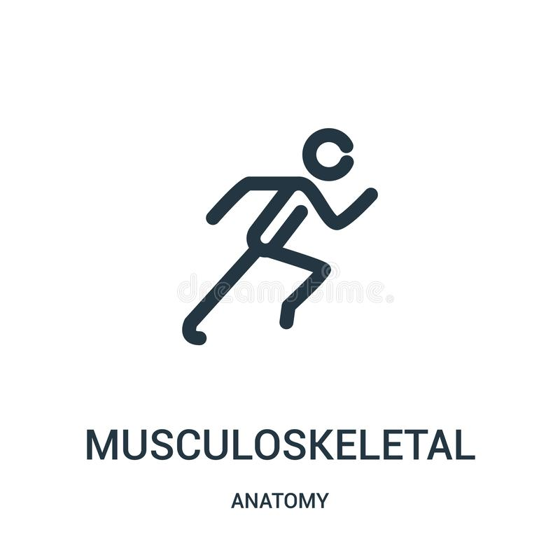 musculoskeletal icon vector from anatomy collection. Thin line musculoskeletal outline icon vector illustration. Linear symbol for royalty free illustration