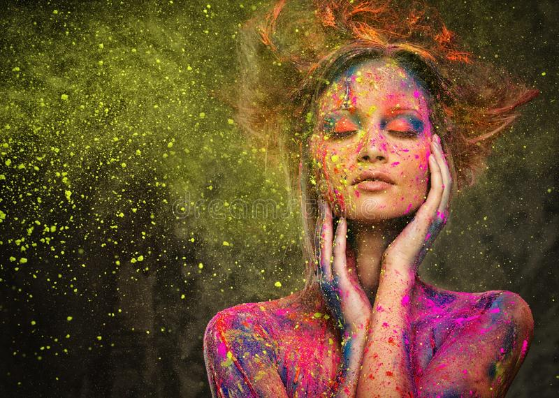 Muse with creative body art stock photography