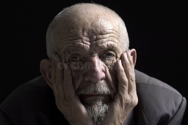 Muse face 2. Face of muse old man on black background royalty free stock photo