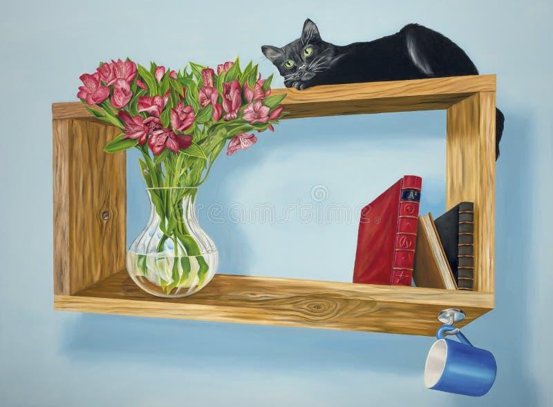 Muse on an Intriguing Shelf stock photos