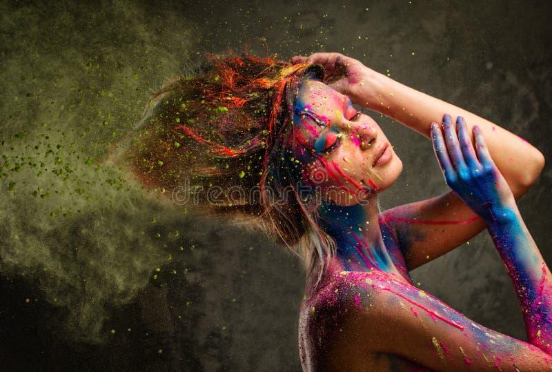 Muse met creatief lichaamsart. stock afbeelding