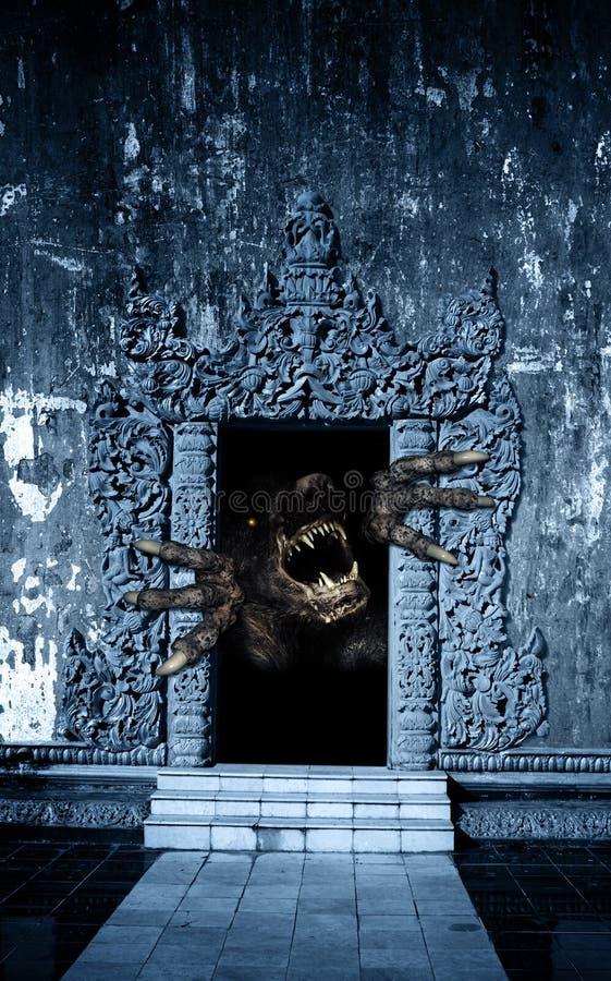 Museau et monstre de pattes dans la porte ouverte illustration stock