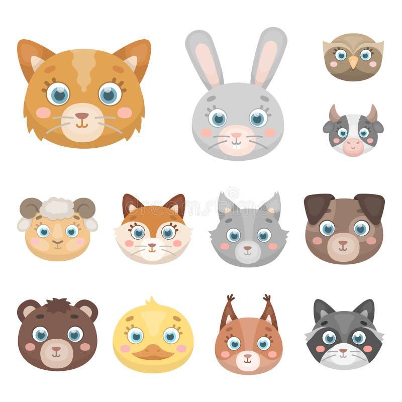 Museaux des icônes de bande dessinée d'animaux dans la collection d'ensemble pour la conception Les animaux sauvages et domestiqu illustration stock