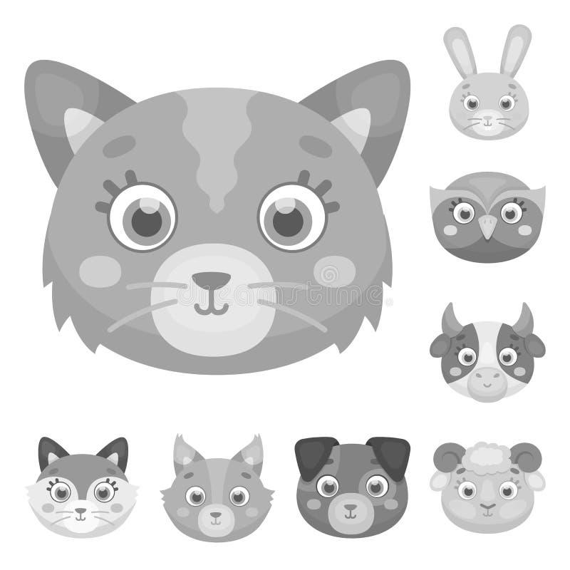 Museaux des icônes monochromes d'animaux dans la collection d'ensemble pour la conception Les animaux sauvages et domestiques dir illustration stock